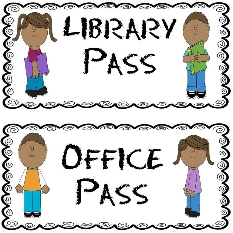 FREE hall passes Four different hall passes in color and black and