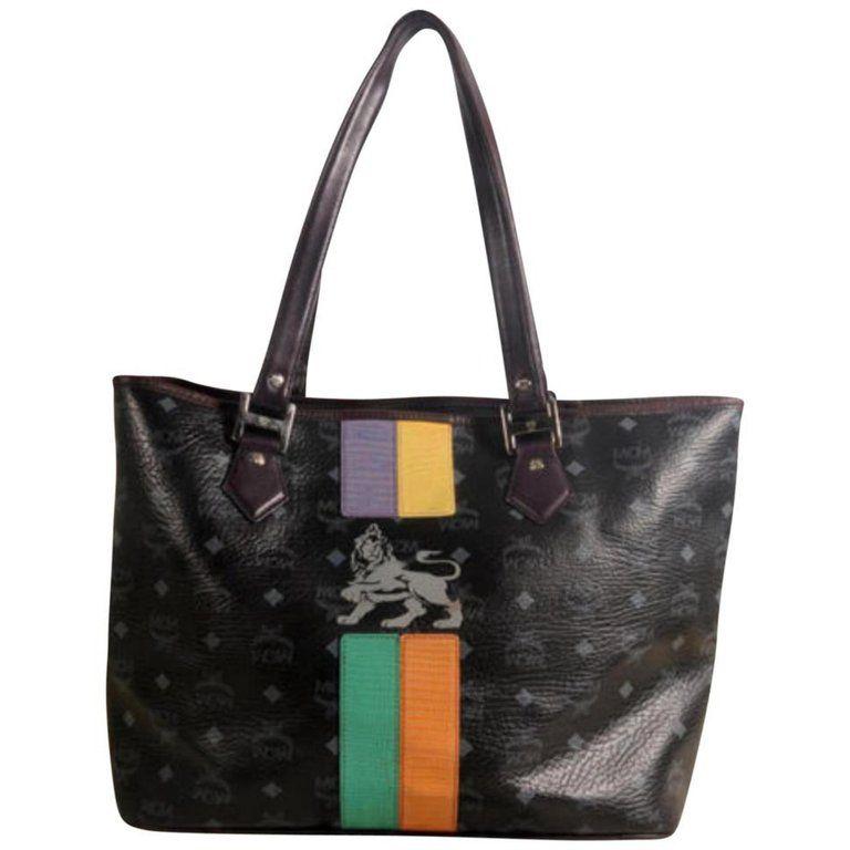 b650efbd6a Mcm Monogram Visetos Logo Lion Shopper Tote 869505 Black Leather Shoulder  Bag