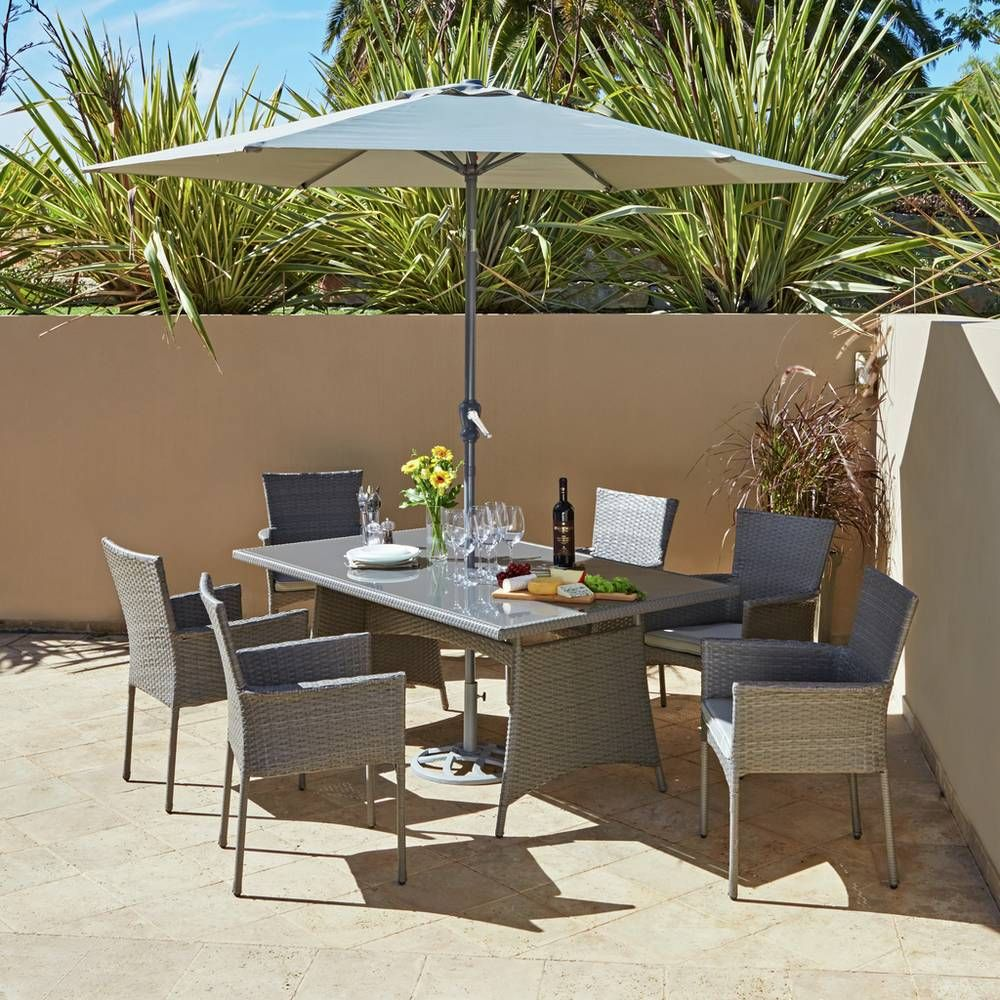 Buy argos home havana 6 seater rattan effect patio set garden table and chair sets