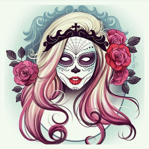 Cat Sugar Skull Art Tumblr Mouqkqzjkf1r2w5nno1 500 Jpg
