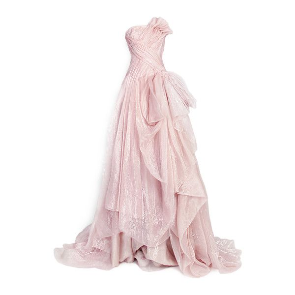 edited by Satinee - Rami Kadi Couture ❤ liked on Polyvore featuring dresses, gowns, long dresses, vestidos, pink evening dress, couture evening dresses, long pink dress and pink ball gown