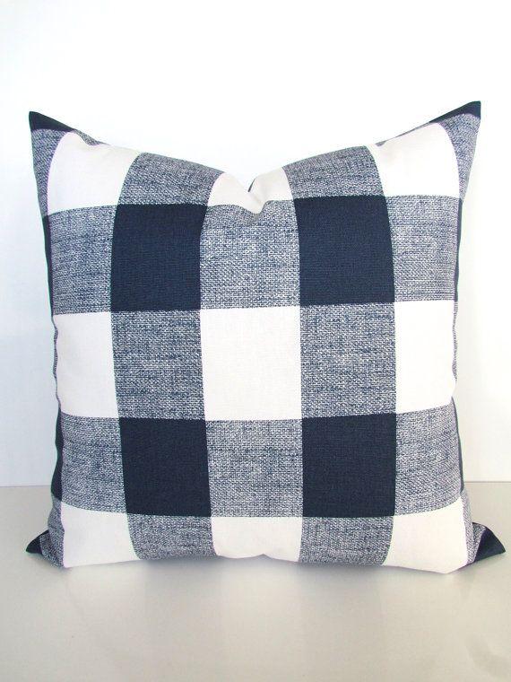 blue buffalo plaid throw pillows