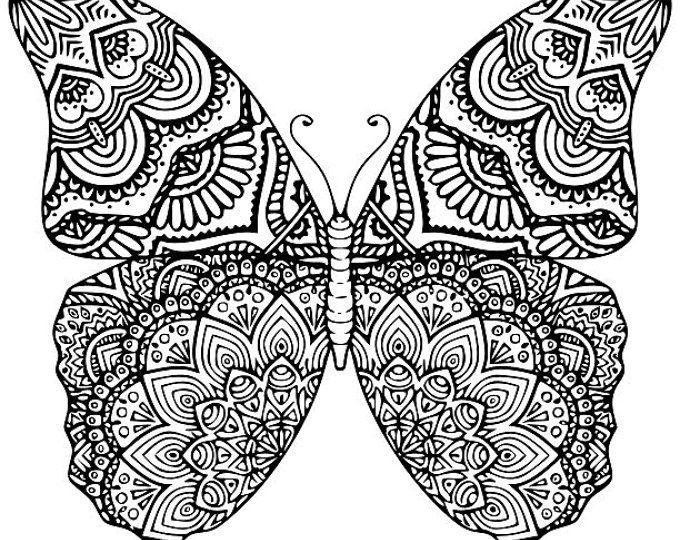 Mandalas Para Colorear Con Animales Y Zentangles: Butterfly Mandala SVG.DXF.EPS