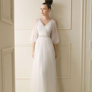 V-neck vintage wedding dress belt flower long-sleeve wedding dress ...