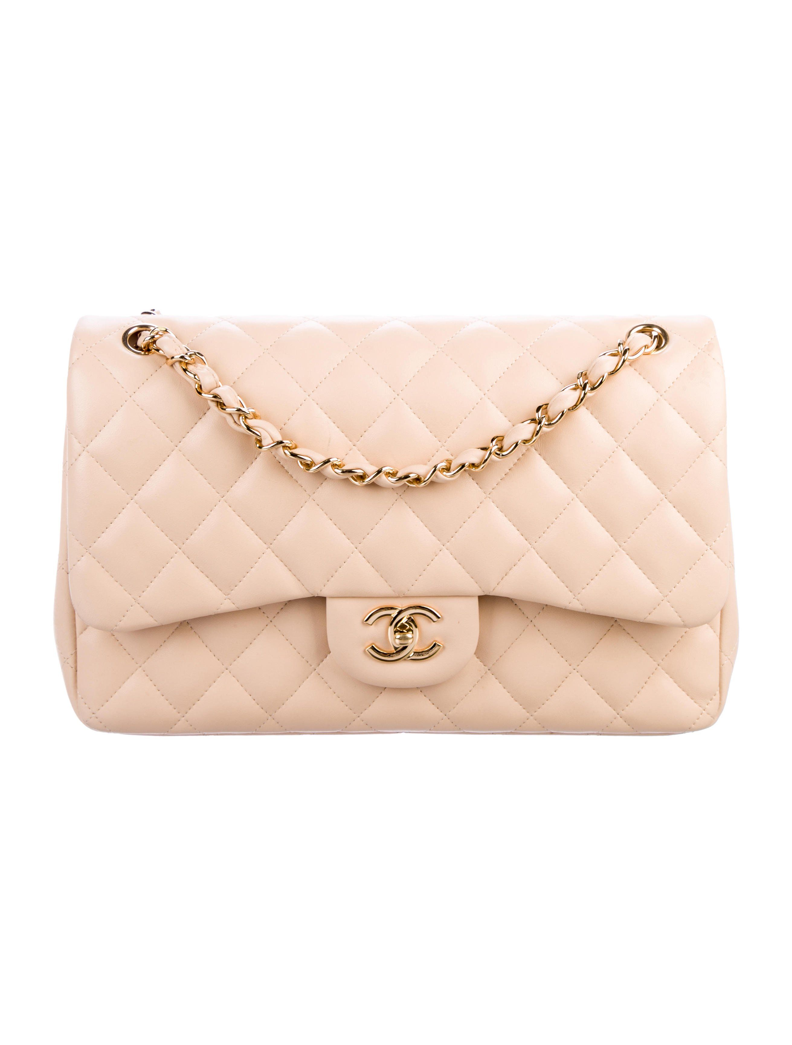 6219ce9abbdf9e Creme quilted lambskin Chanel Jumbo Double Flap bag with gold-tone  hardware, convertible shoulder