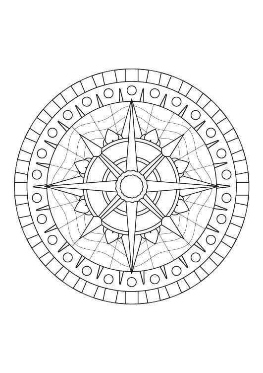 Mandala rosa de los vientos: dibujo para colorear e imprimir | SAINT ...