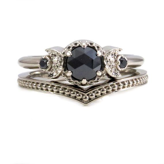 White Gold and Black Diamond Moon Ring Set Millgrain Chevron Band