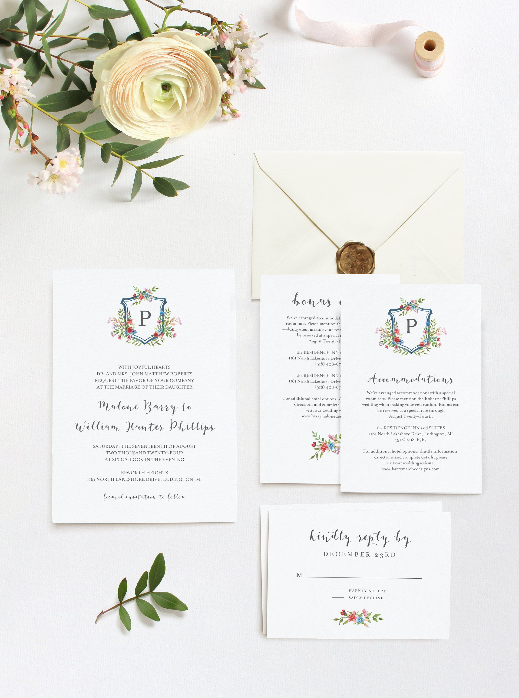 Watercolor Crest Printable Invitation Wedding Logo Wedding