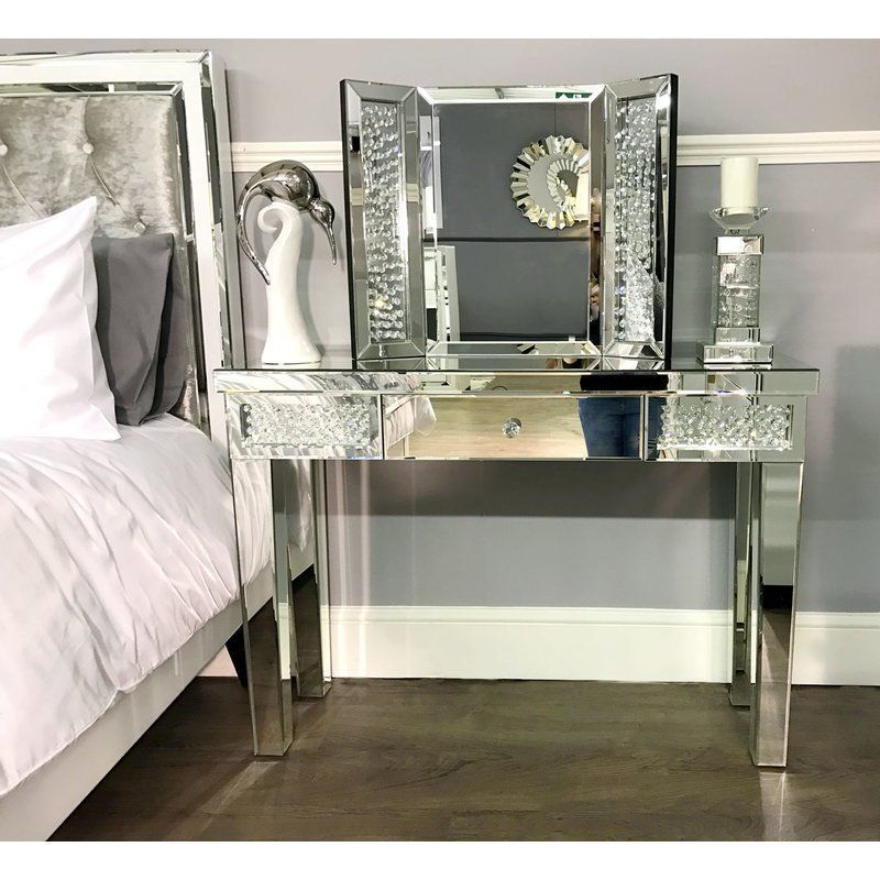 hallway desk furniture. Glass Console Table Mirrored Hallway Office Entrance Hall Furniture 1 Drawer Desk