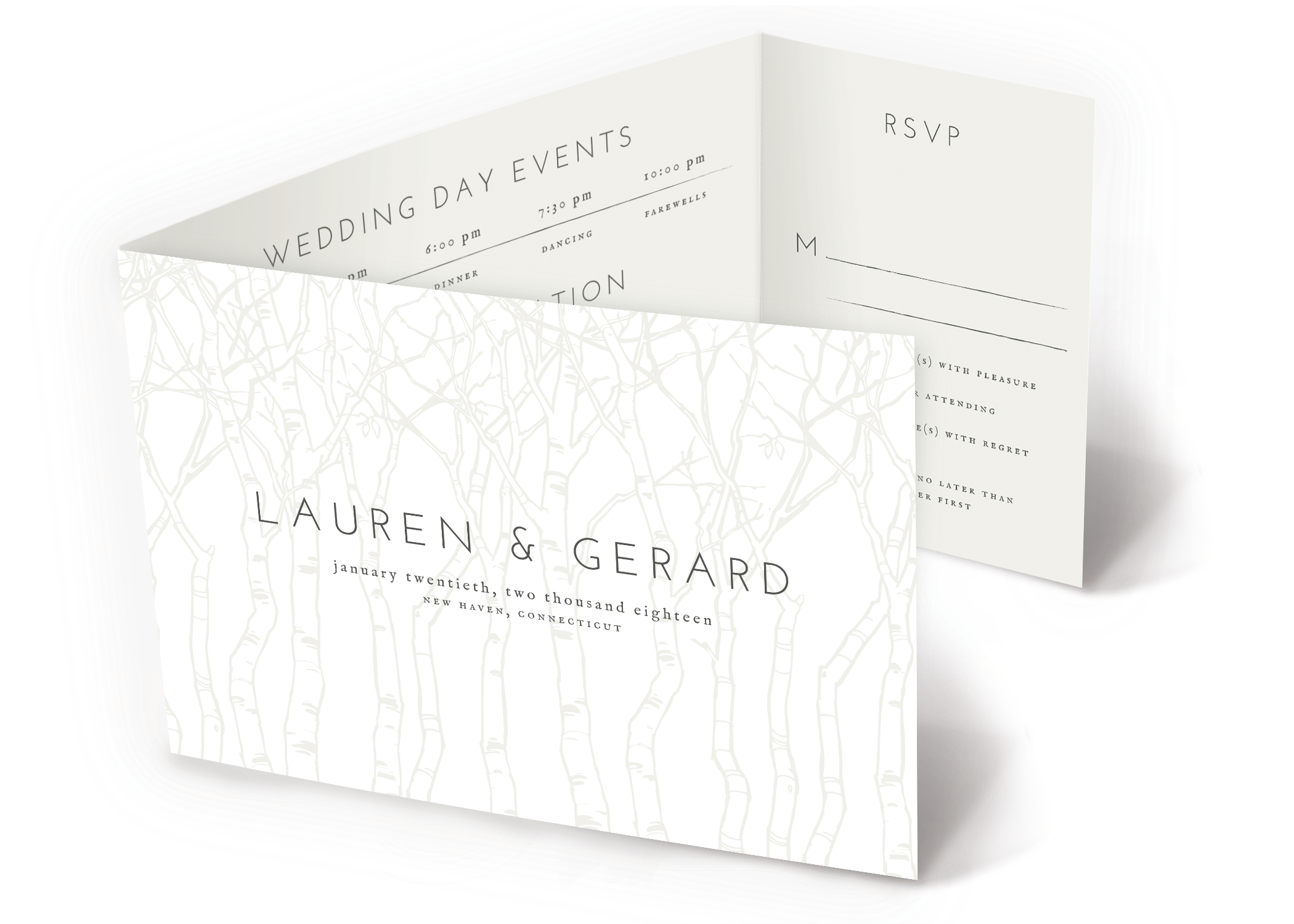 Winter Birch Trees All-In-One Wedding Invitation   www.papersnaps ...