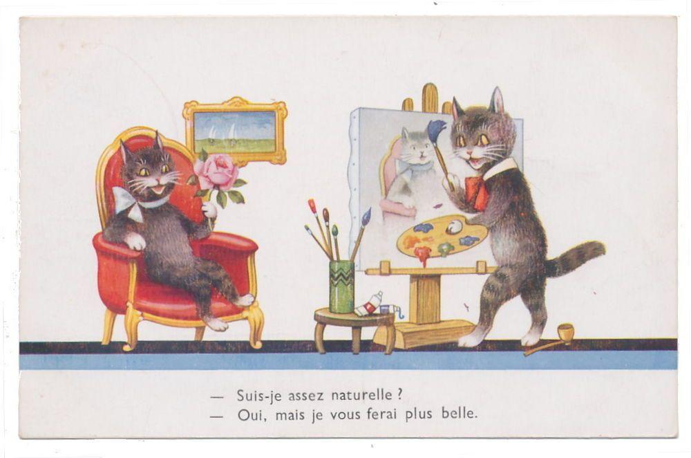 Dressed Cat Artist Paints Portrait of Posing Cat Lady