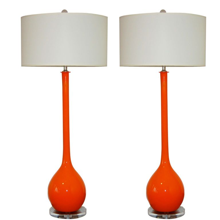 Marvelous Orange Long Neck Vintage Murano Lamps By Seguso