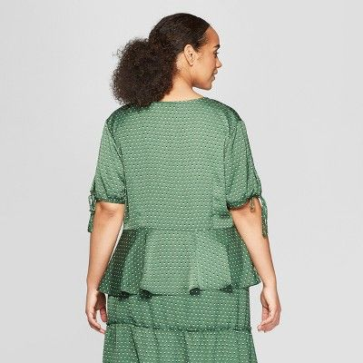 05727b80e2f Women s Plus Size Floral Print Short Tie Sleeve Button Detail Peplum Top -  Who What Wear  Orange 1X  Print