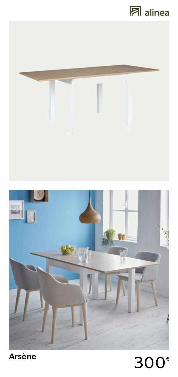 Alinea Arsène Table De Repas Extensible L90 à 180cm 4 à