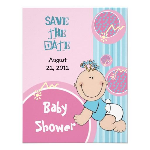 save the date baby shower invitation cute baby cute boy or girl pink