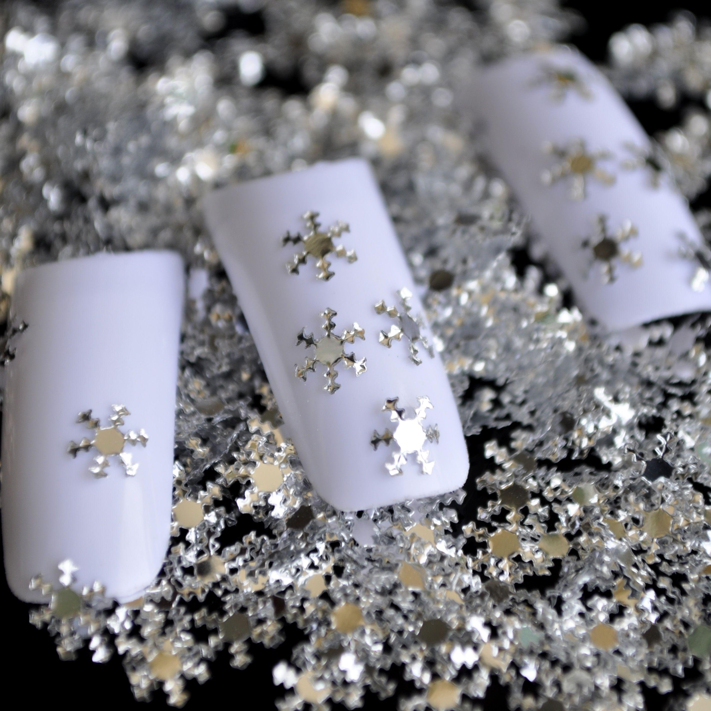 Nail Design Diy Materials Nail Silver Snow Snowflake Decoration Pet