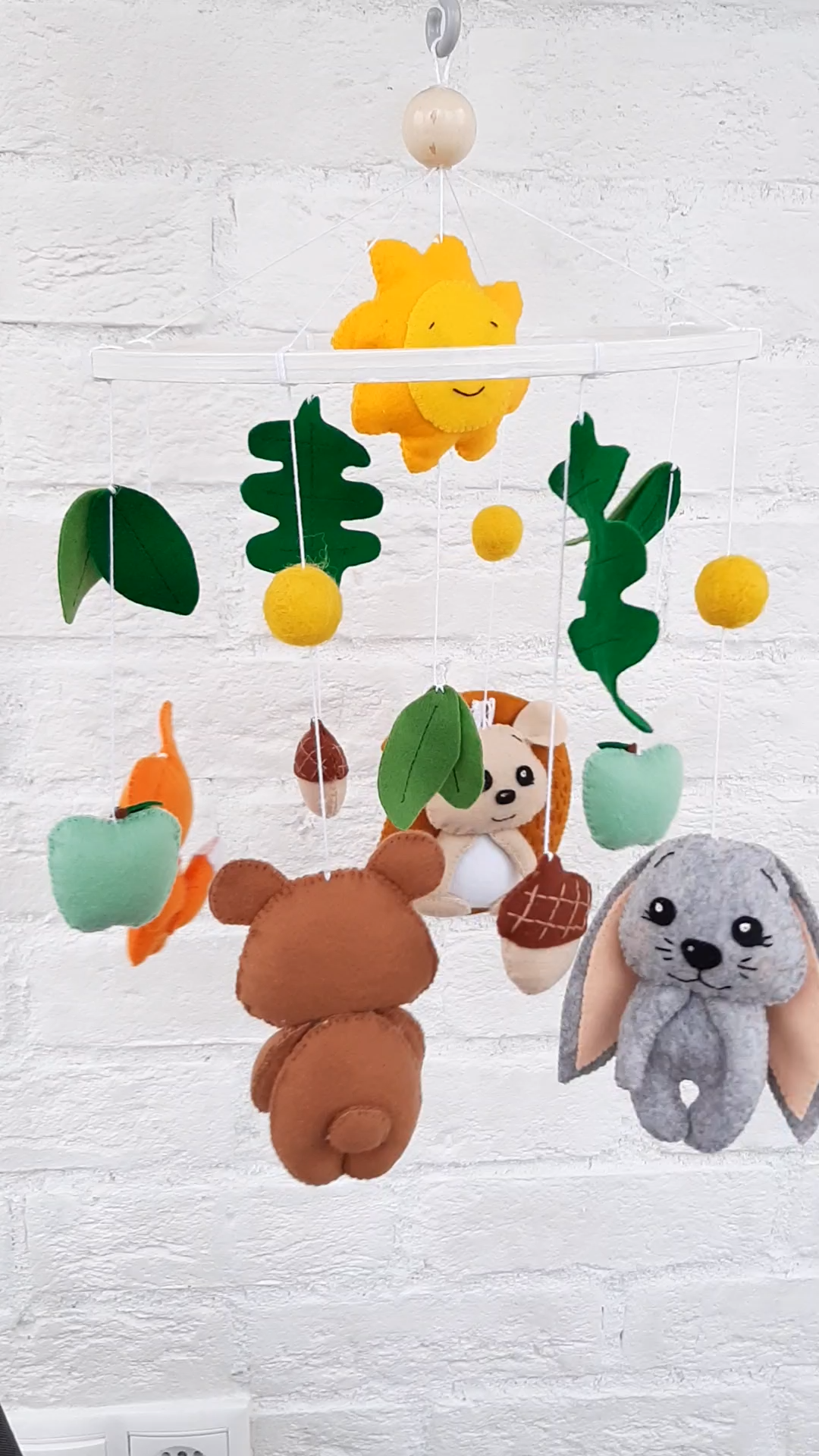 Woodland crib mobile with cute felt animals as forest baby shower gift idea -  This woodland crib mobile with felt bear, hare, hedgehog, fox, sun, acorns and apples is made to be - #Animals #Baby #BabyShowersbanner #BabyShowersdrinks #BabyShowersflowers #BabyShowersideen #BabyShowersindian #BabyShowersletras #BabyShowersnena #BabyShowersquotes #BabyShowerssigns #BabyShowerstwins #BabyShowersvideos #crib #Cute #fallBabyShowers #felt #Forest #gift #idea #mobile #Shower #winniethepoohBabyShowers #