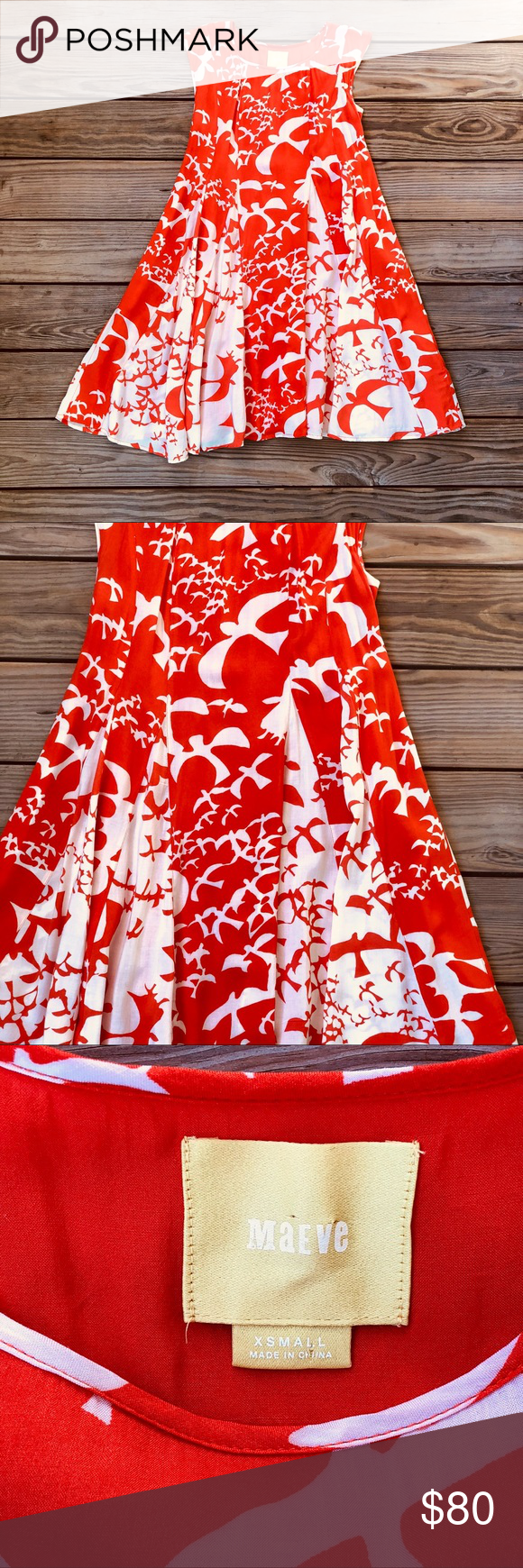 28fa63741dea1 Anthropologie Maeve Indiga Swing Dress Anthropologie Maeve Indiga Swing  Dress Orange Bird Print Lace up back Reverse insets XS Great condition  Thanks for ...