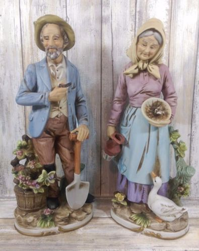 Vintage 13 5 Homco Figurines Old Couple Man Woman Country