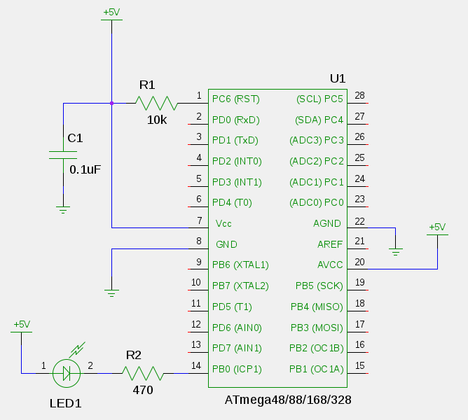 AVR Blink LED schematic | Microcontrollers | Pinterest