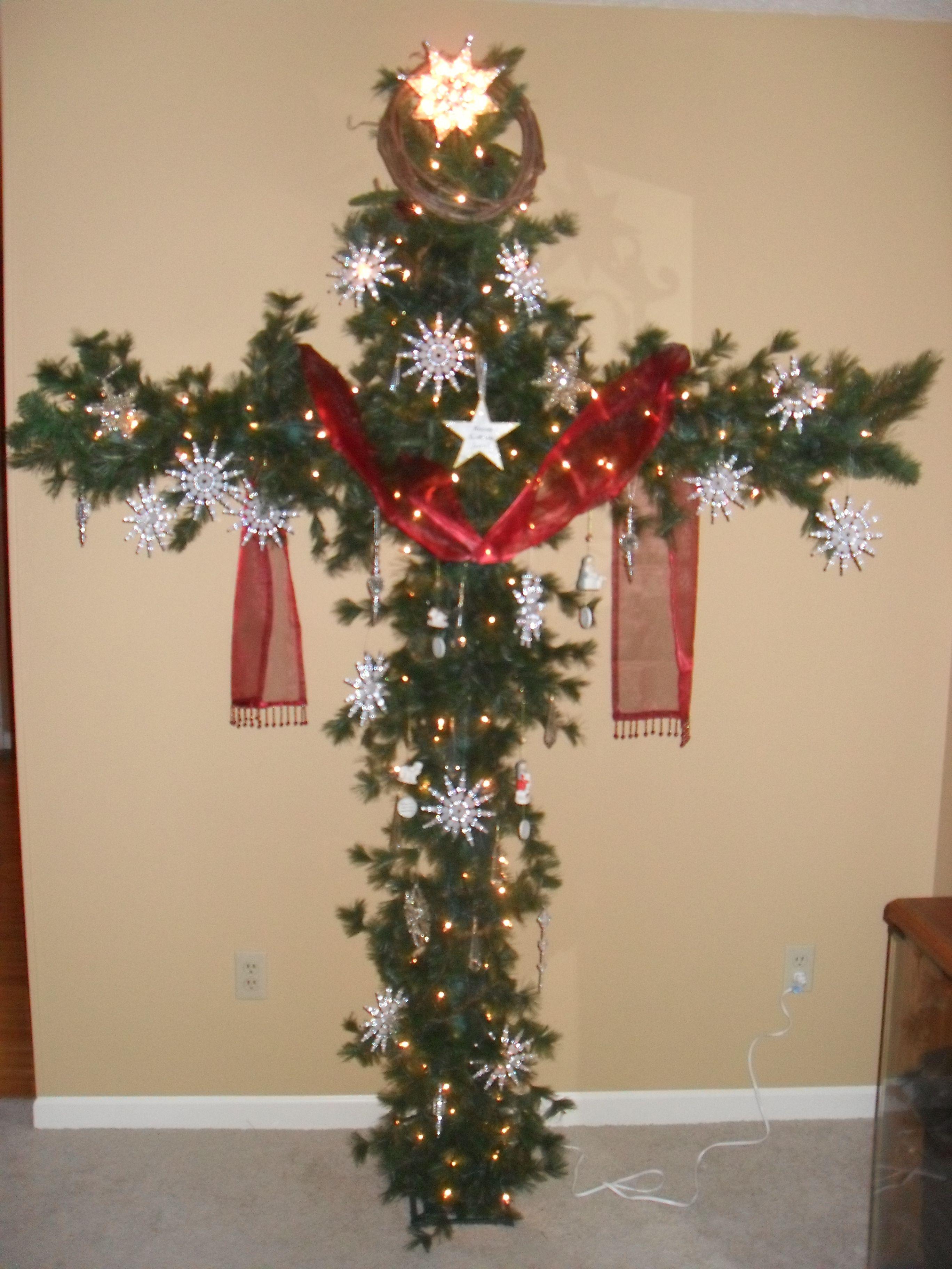 a cross christmas tree