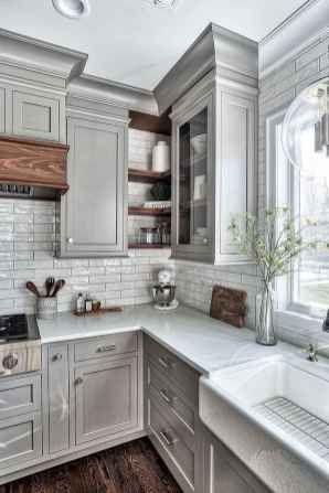 26 Beautiful Farmhouse Kitchen Cabinet Makeover Design Ideas #darkkitchencabinets