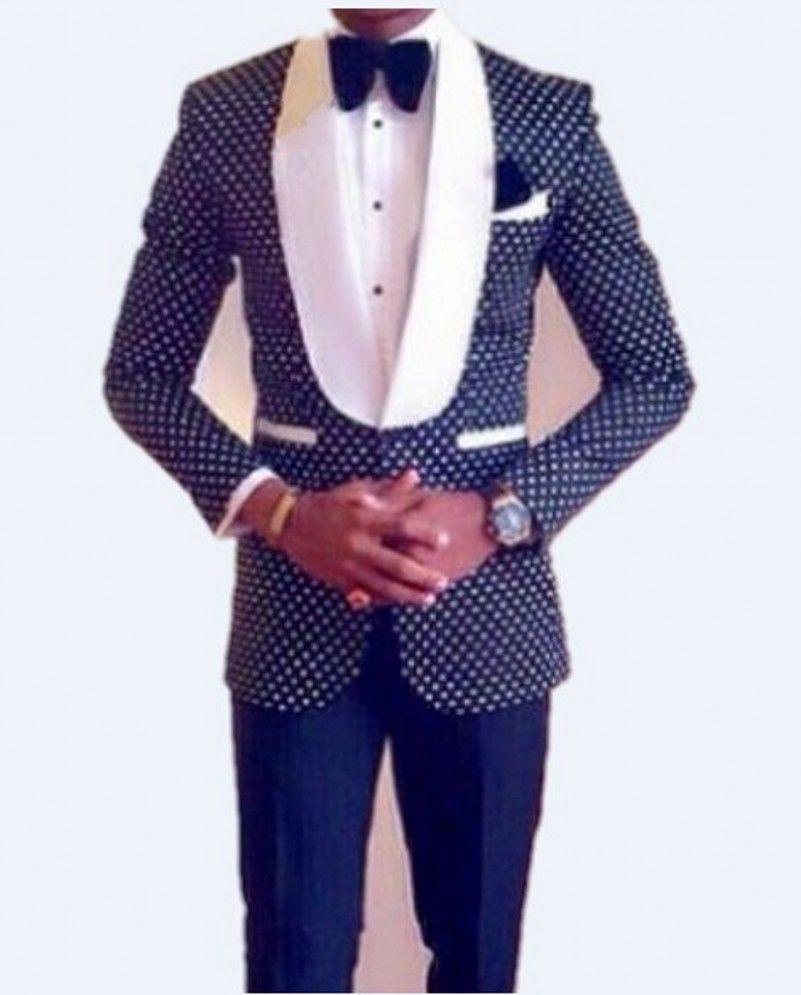 Slim Fit Groomsmen Shawl White Lapel Groom Tuxedos Navy Blue/Black ...