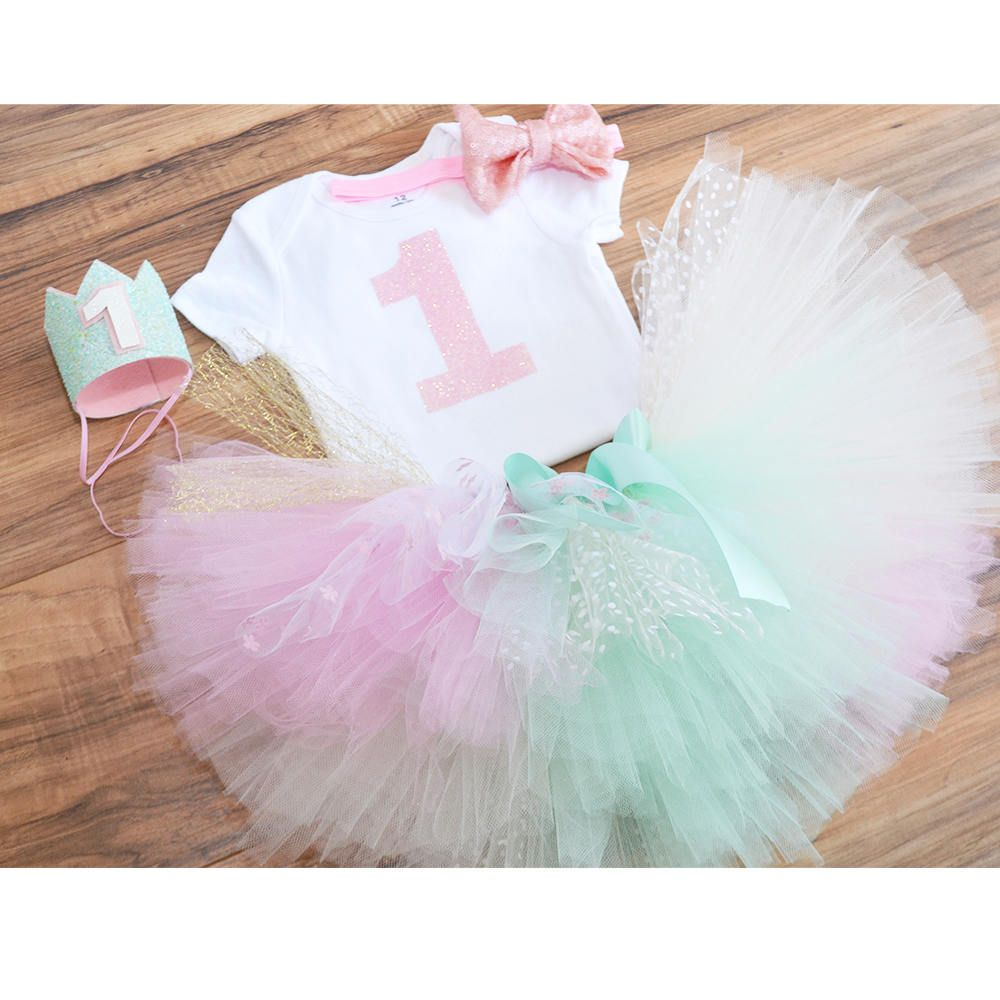 Pink rainbow tutu, Rainbow first birthday outfit, Pink and