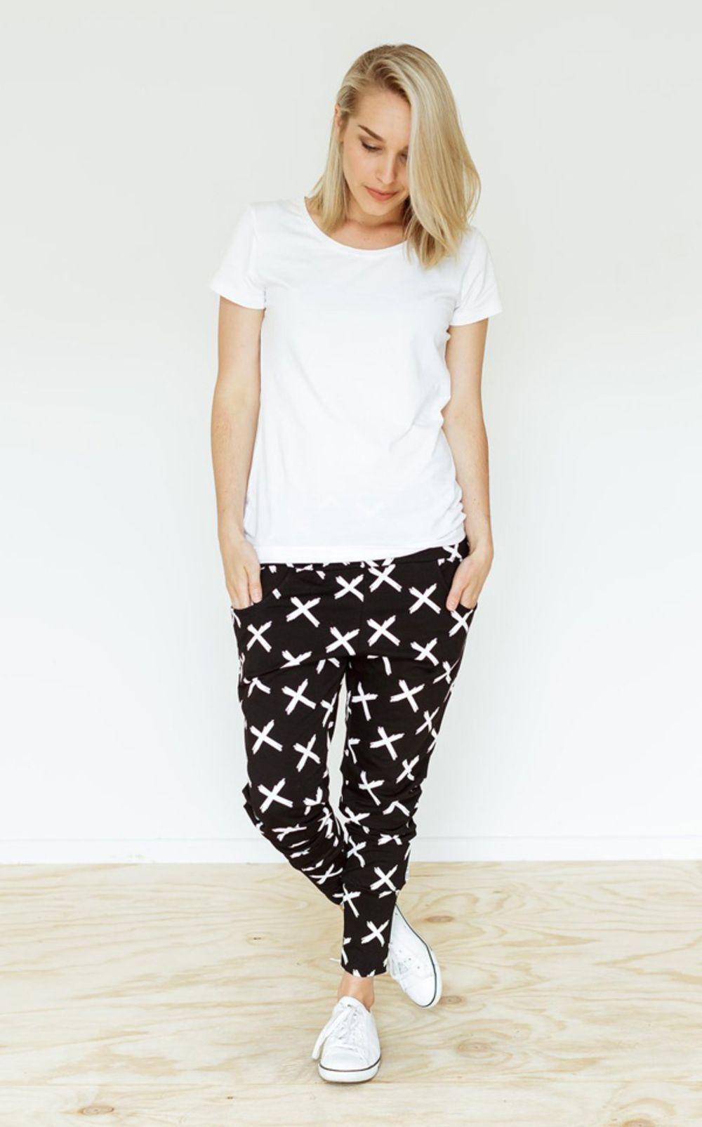 Home Lee Apartment Pants Black With Cross Print Nzfashion Dropcrotchpants