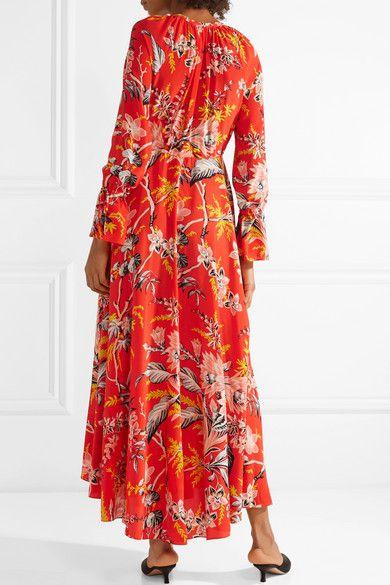 Bethany Floral-print Silk Crepe De Chine Maxi Dress - Red Diane Von Fürstenberg Outlet Original vwLRCg3U