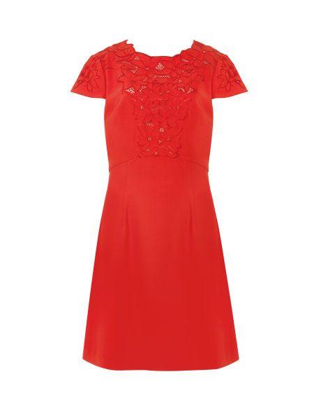 Lace Embroidered Dress - Dark Orange