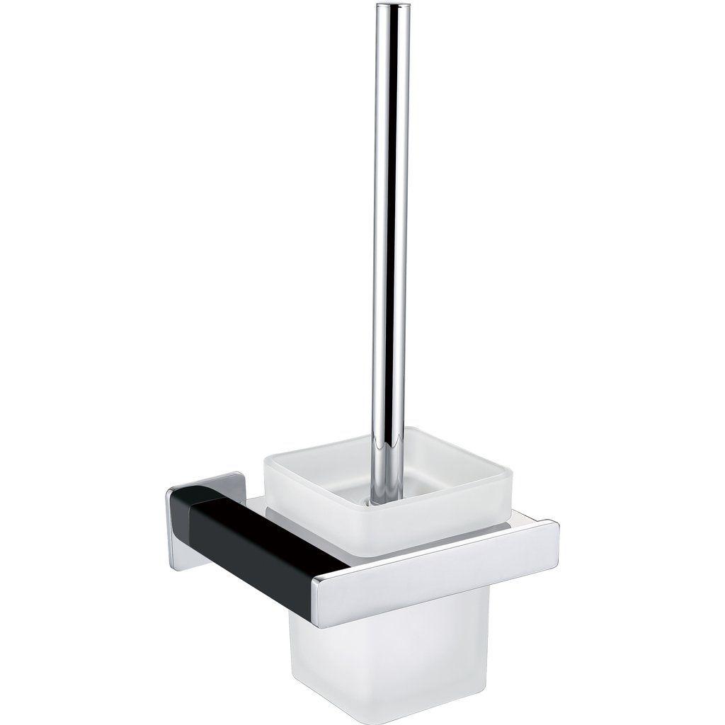 Bai 1532 Toilet Brush With Holder In Matte Black And Polished Chrome Finish Zwart Dingen Om Te Kopen
