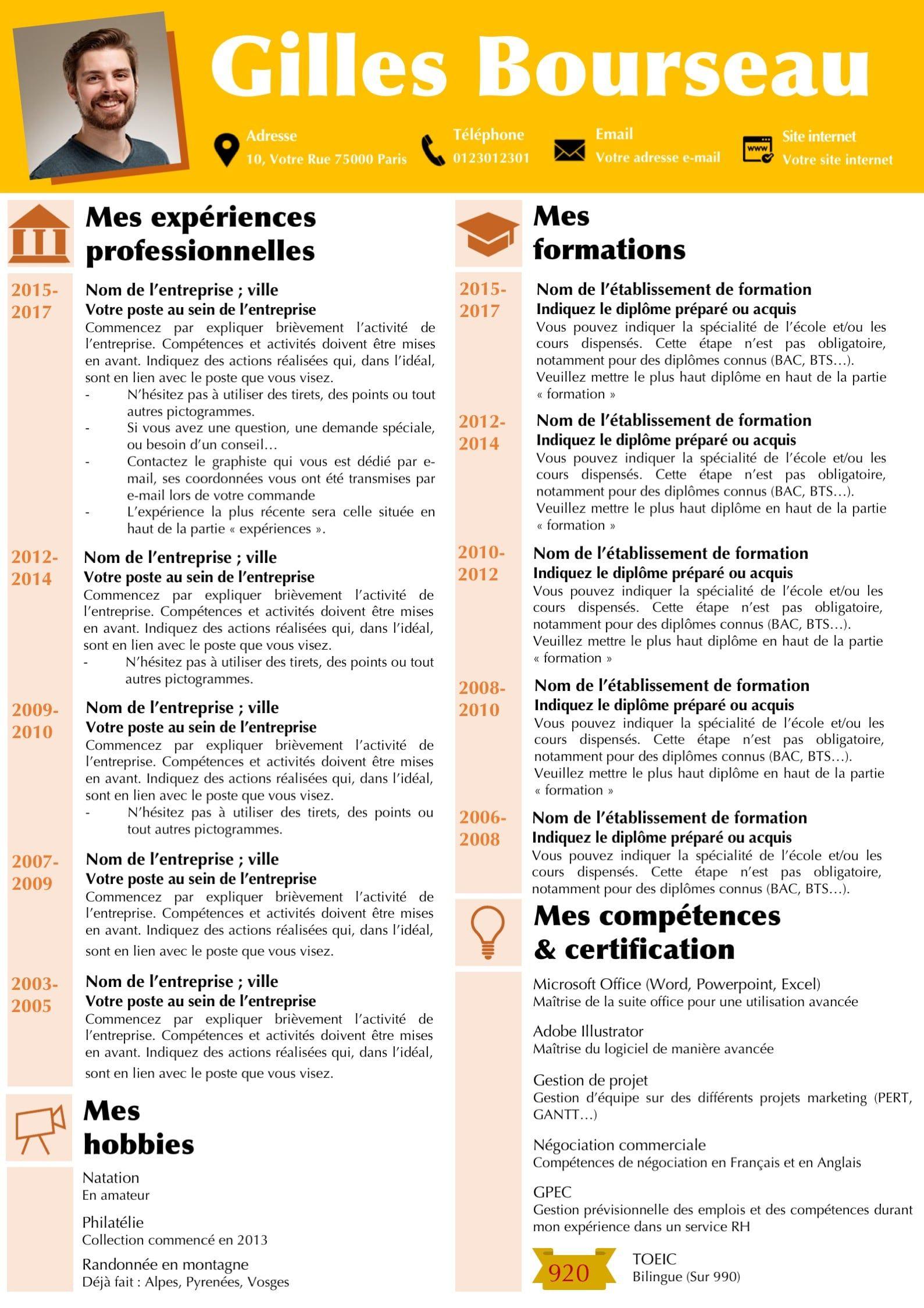 Modeles Cv Et Lettre De Motivation Orange Modifiable Pour 6 99 Modele De Cv Design Lettre De Motivation Modele Cv