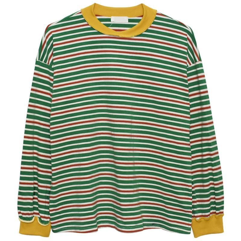 fb633f9aa itGirl Shop TOMBOY STRIPES OVERSIZED YELLOW GREEN LONG SLEEVE ...