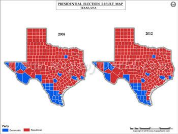 Texas Election Results Map 2008 Vs 2012 USA Presidents Election