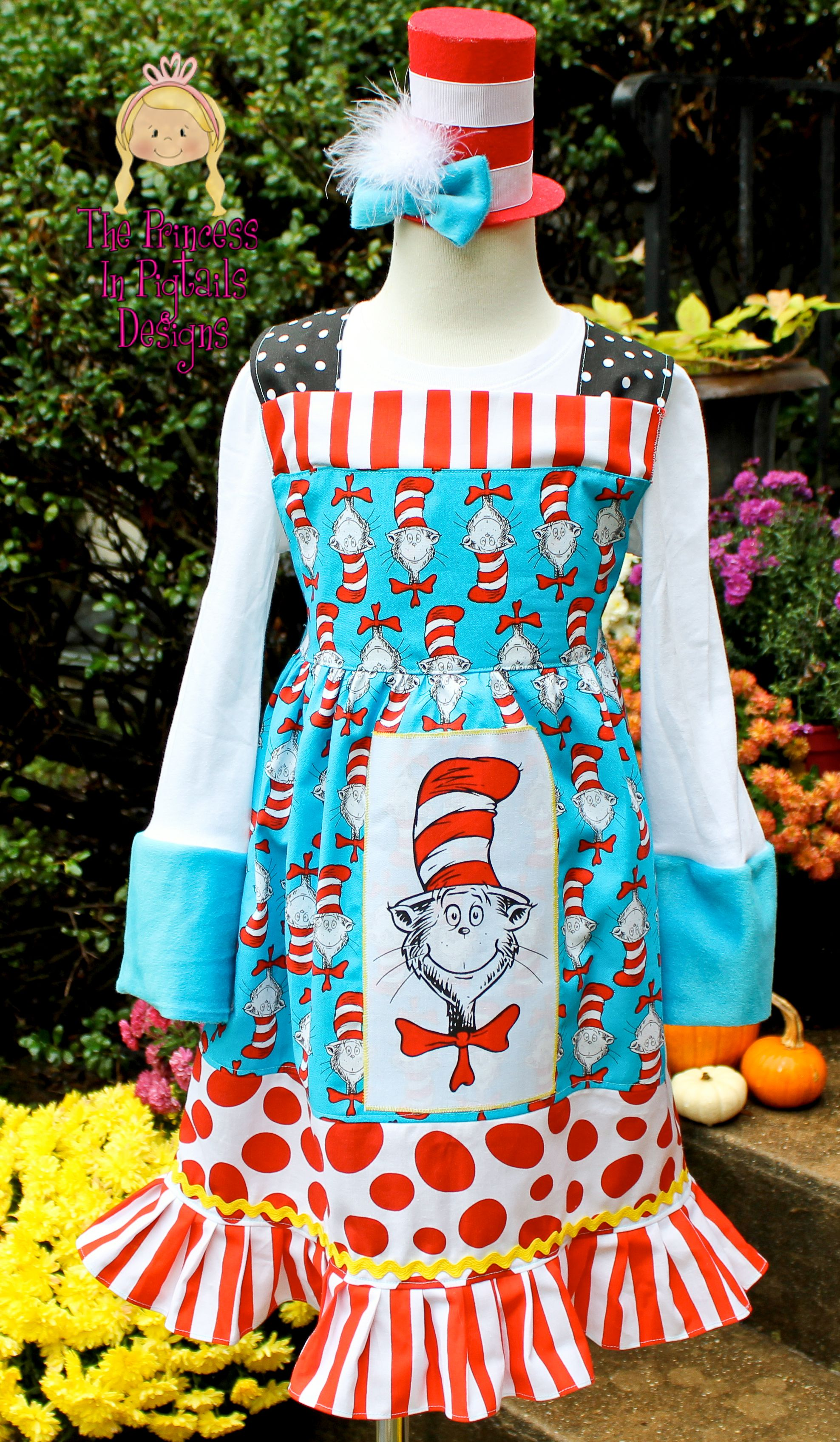Dr Seuss Cat In The Hat Custom Knot Style Dress With