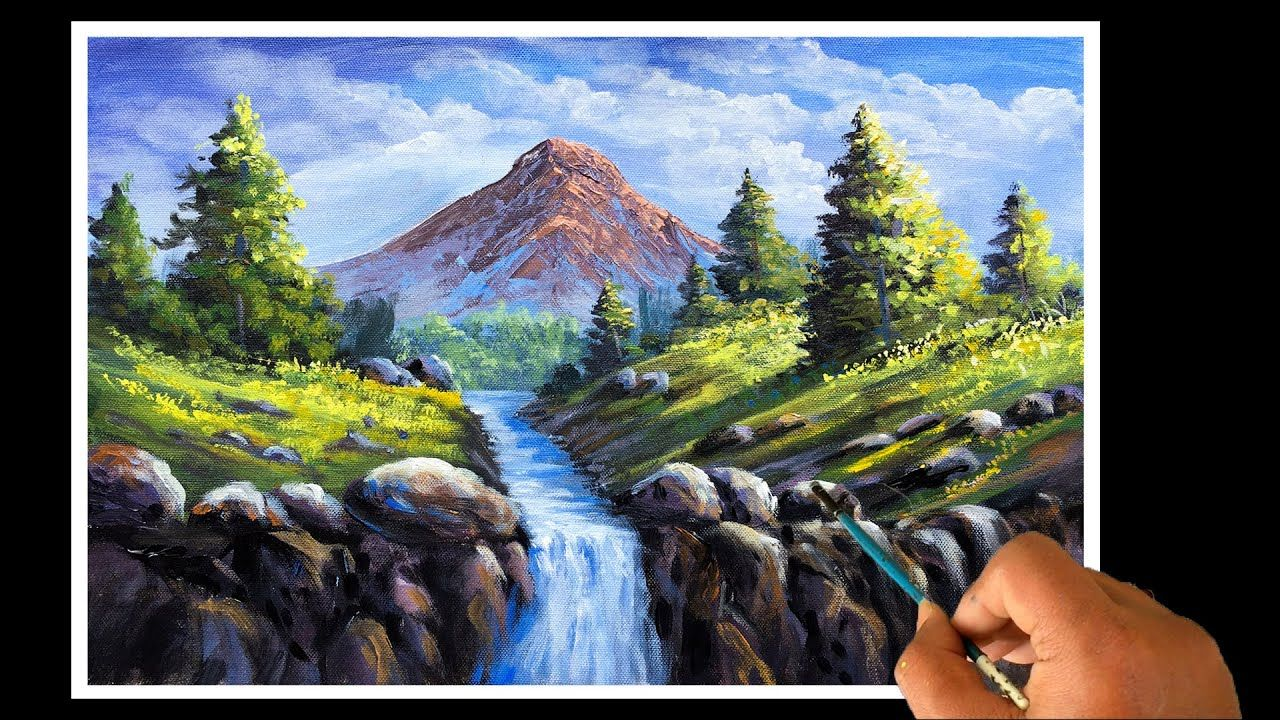 Painting A Beautiful Mountain River Waterfall And Trees Landscape With In 2020 Landscape Trees Waterfall Landscape Waterfall Paintings