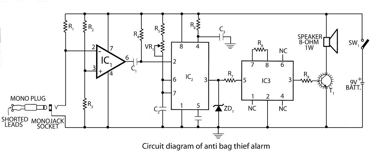 circuit diagram of anti bag thief alarm