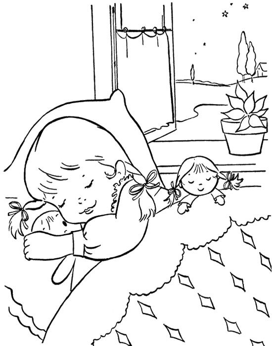 sleep christmas eve coloring page