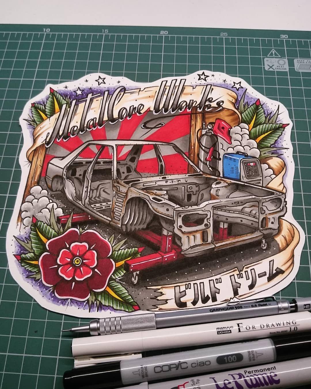 One of my fav works..❤ #METALCOREWORKS  #メタルコアワークス  #スカイライン #SkylineR30 #R30 #CarDrawing #ドローイング  #РисунокАвто #РисунокМашины  #TattooSketch #TattooFlash #タトゥー #ТатуЭскиз  #CarTattoo#ТатуАвто #TraditionalTattoo  #JapaneseTattoo #Irezumi #Illustration #イラスト  #CarIllustration #カーイラスト #車の絵 #CarArt #DrawToDrive #Copic #コピック
