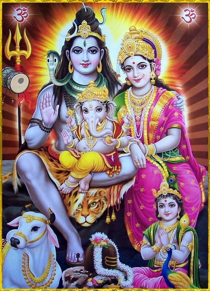 wall decor ideas Shiva Parvati Ganesha with Nandi paper poster