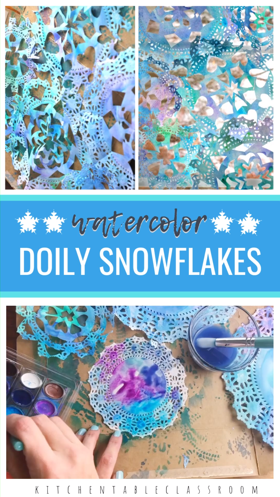 Watercolor Doily Snowflakes #paperprojects