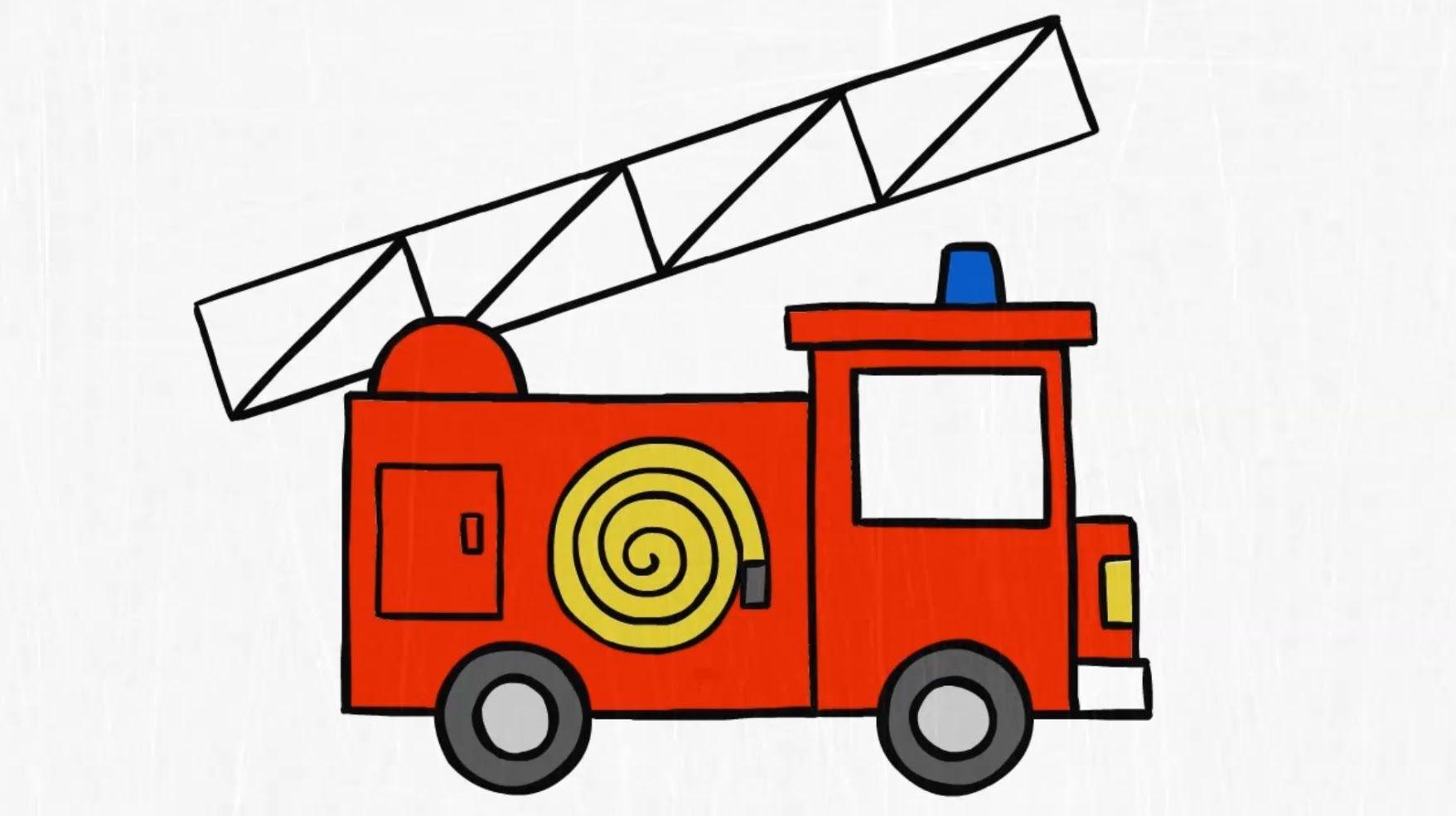 How to draw. a FIRE TRUCK | Fire Safety | Pinterest | Feuerwehr und ...