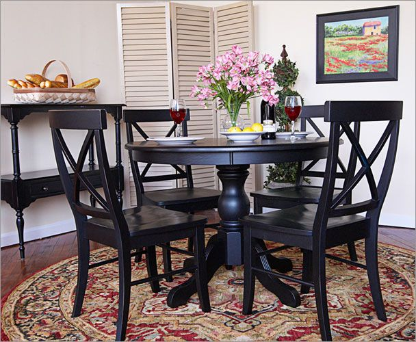 Black French Country Dining Set Pedestal Dining Table