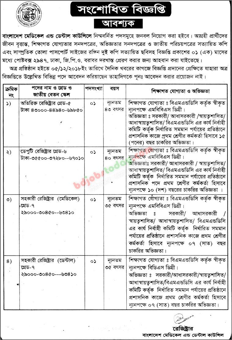 Bangladesh Medical And Dental (BMDC) Job Circular 2019 - bmdc org bd