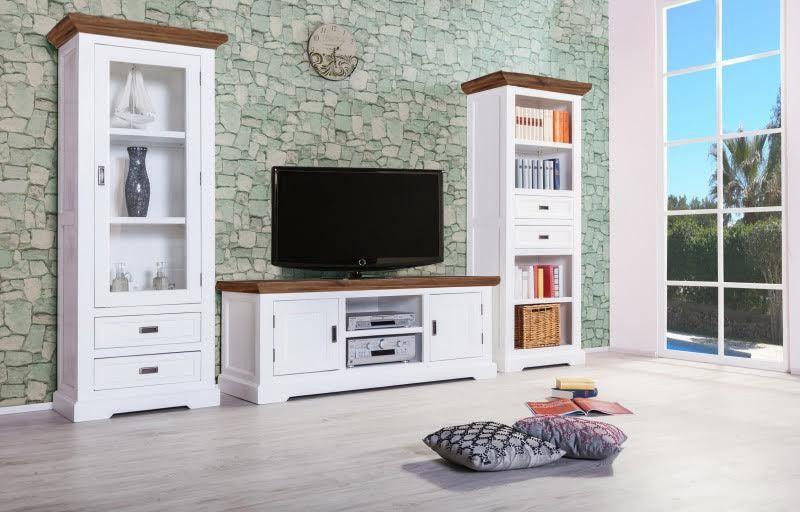 Wohnwand Hersteller wohnwand olympia 3 teilig weiß braun akazie holz moebel