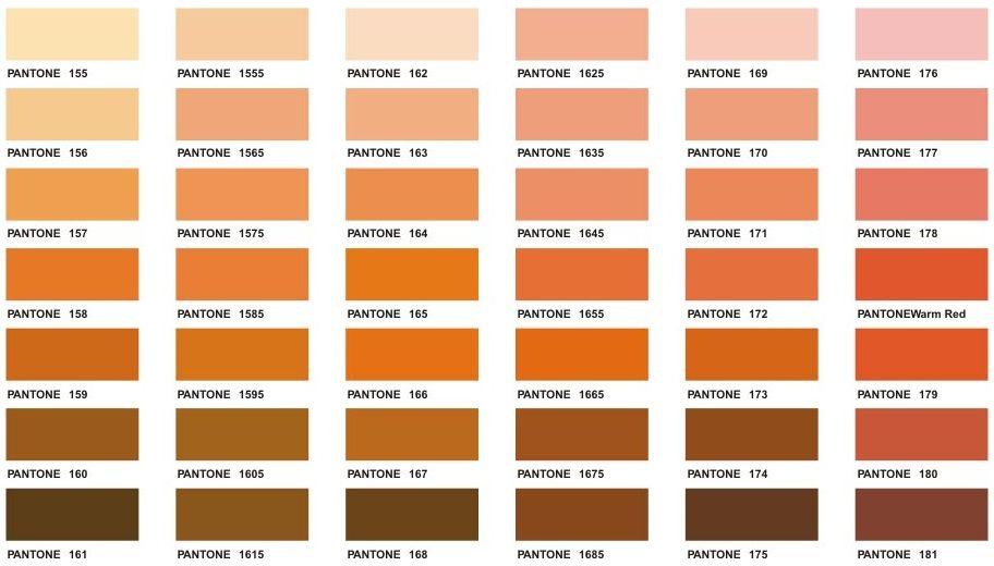 Orange pantone color chart. | color | orange | Pinterest | Pantone ...