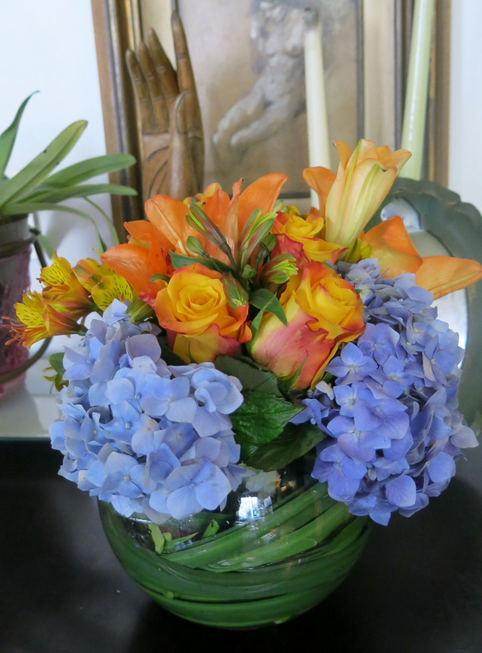 Blue and orange flower centerpiece my flowers