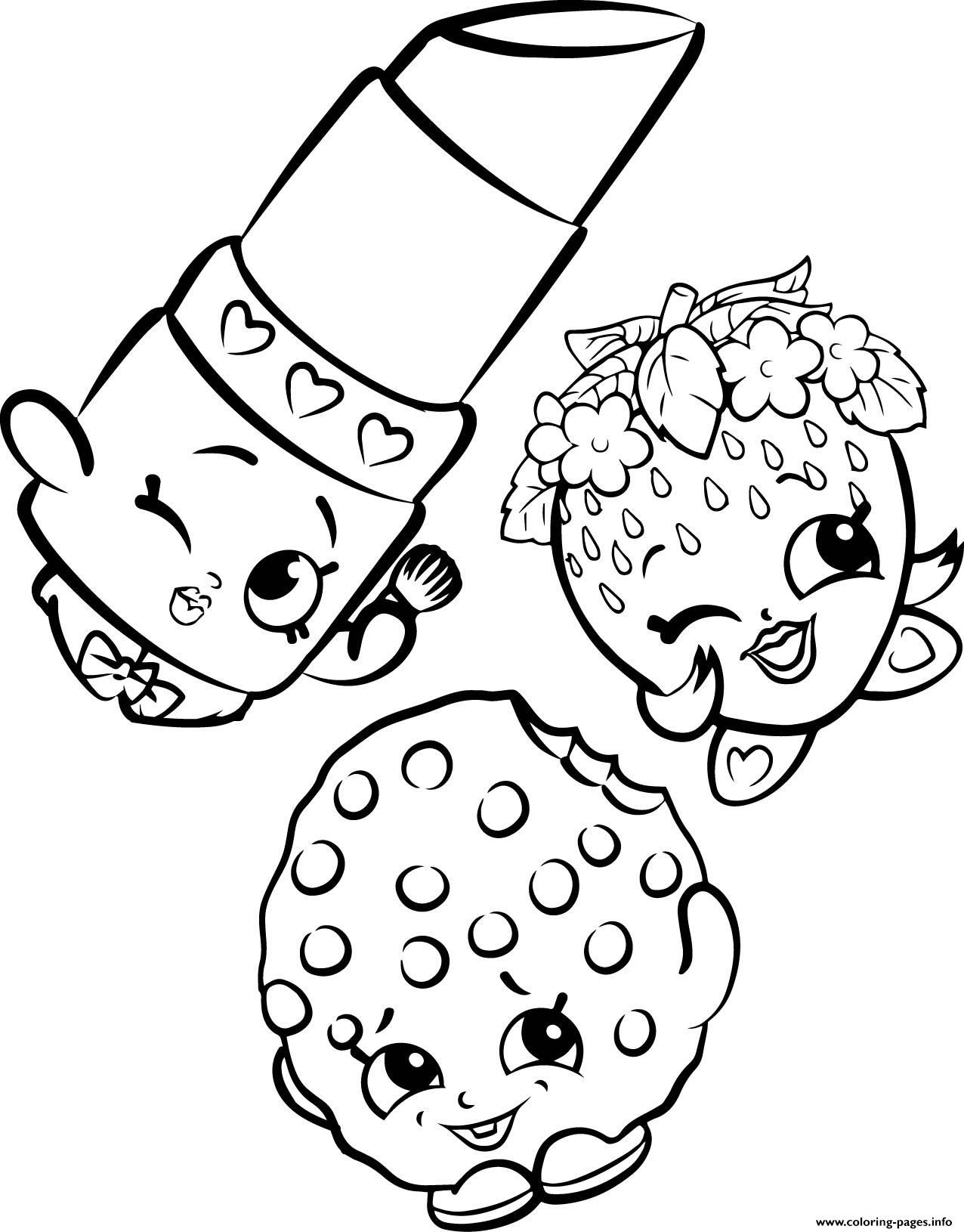 Print free shopkins strawberry lipstick cookie coloring pages