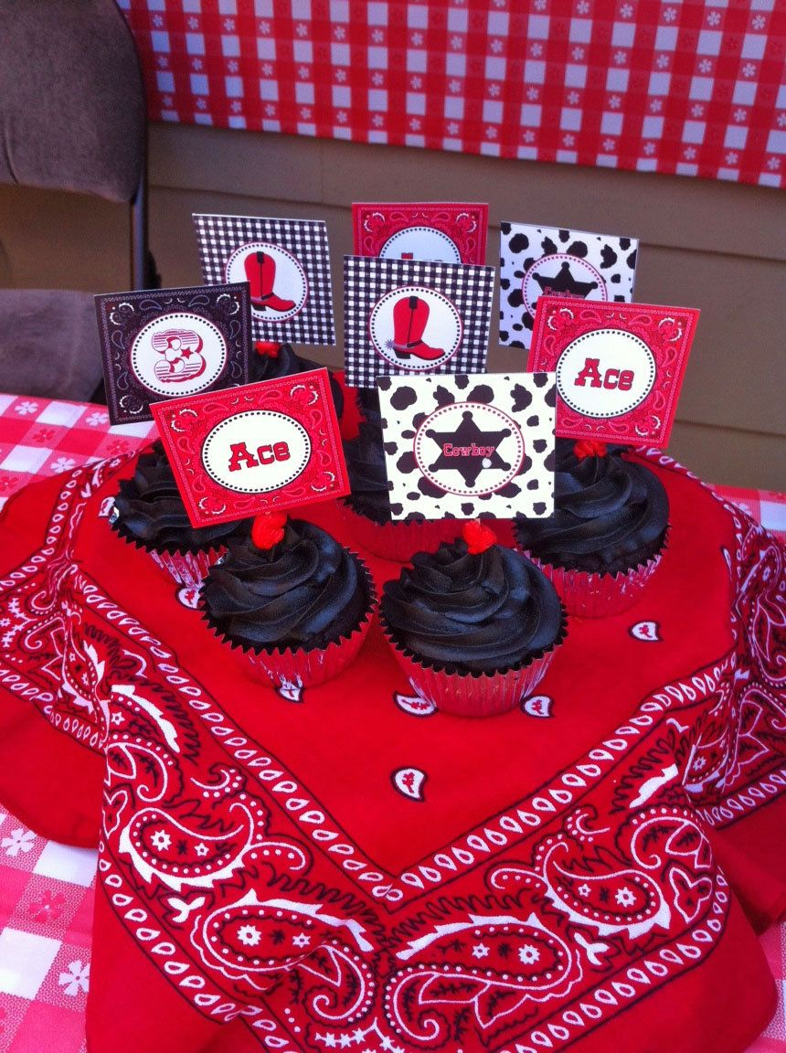 12 Cowboy Birthday Party Cupcake Toppers